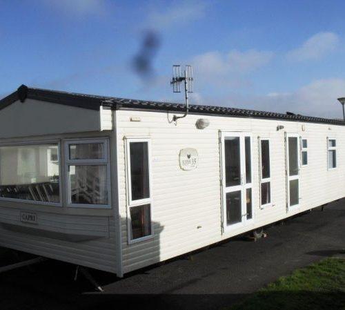 white modern caravan