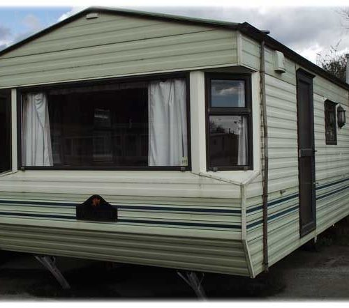 cream and brown static caravan