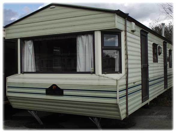 cream and brown static caravan