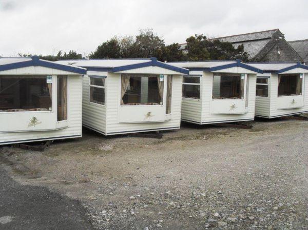 row of cream caravans