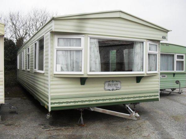devon cream caravan with exterior detailing